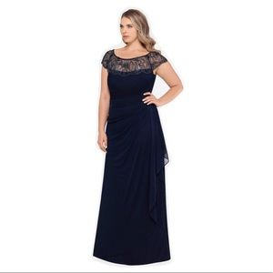 NWT Xscape Beaded Ruched Side Beaded Gown in 16w